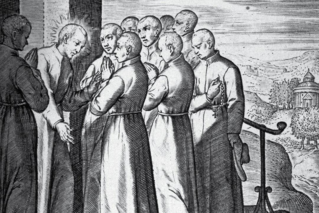 "Detail from the ""Vita beati P. Ignatii Loiolae, Societatis Iesu fundatoris"" where Ignatius of Loyola chooses his nine companions from the University of Paris."
