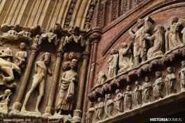 Another of the Camino Ignaciano's experiences is to gaze at the friezes of the many churches you encounter along the way. This detail from the twelfth-century romanesque Church of San Bartolomé in Logroño depicts scenes from the life of Christ as well as of the saint. Though it has been through much transformation and decay, it remains a timeless beauty.