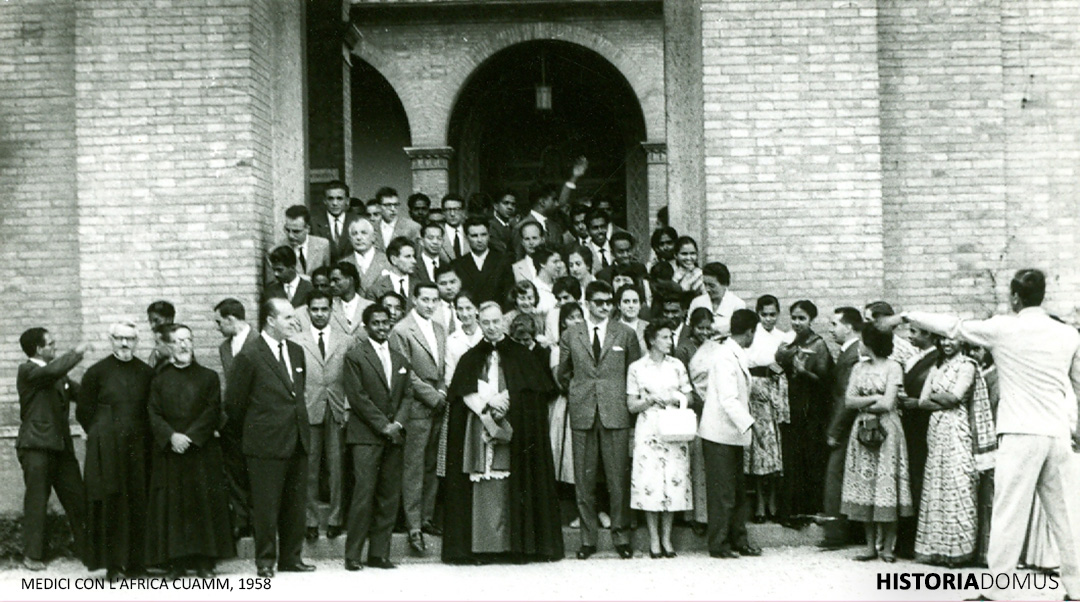 "Pope Pius XII with the participants of the conference on ""The cooperation of the lay people of Asia and Africa with the missionary apostolate"" in September 1958."