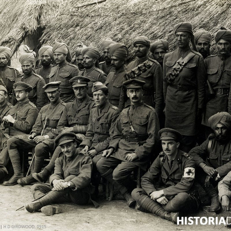 British and Indian officers of the 57th [Wilde's] Rifles [Estaires La Bassée Road, France]. 6 August 1915