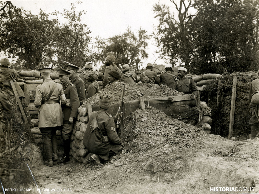 A post in the trenches held by Dogras, and an Indian Cavalry machine gun section (near Fauquissart, France) 9 August 1915