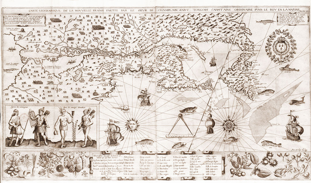 Geographical Map of Nouvelle France by the French cartographer Samuel de Champlain (1567?-1635)