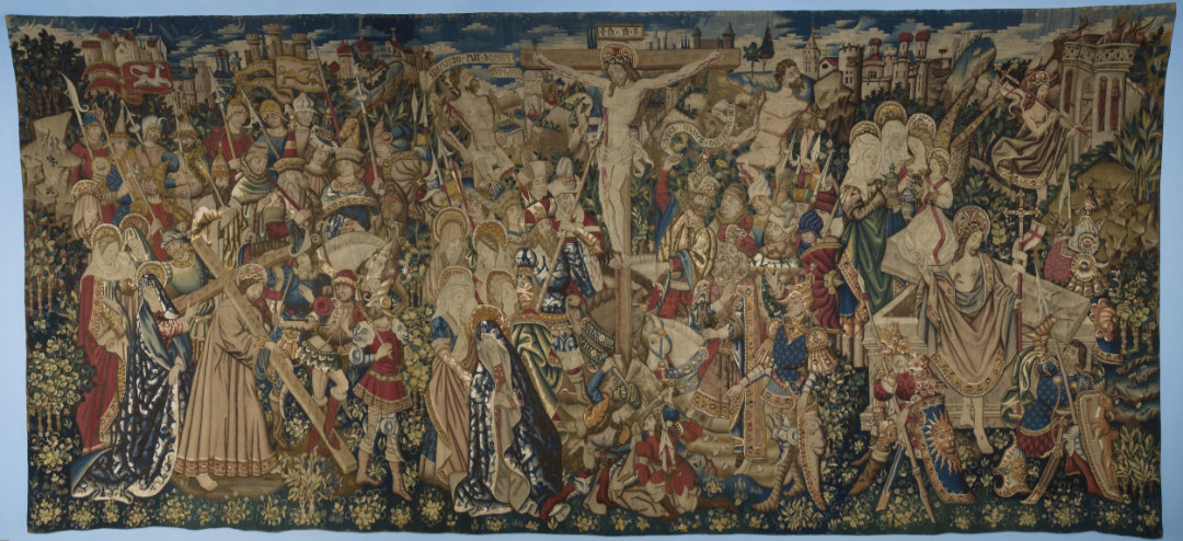 "Tournai Workshop, ""Tapestry with scenes from the Passion of Christ: Christ Carrying the Cross, the Crucifixion and the Resurrection,"" c. 1445-55 