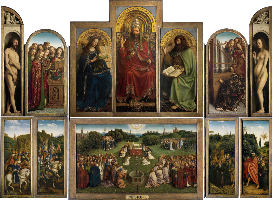 "Hubert and Jan van Eyck, ""Interior panels of the Adoration of the Mystic Lamb,"" 1432 